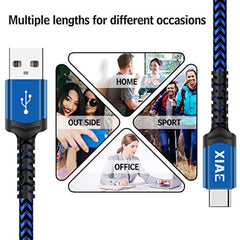 Fast Charging Speed USB C Cable,XIAE 5Pack (3/3/6/6/10FT) USB-A to Type C Nylon Braided Fast Charging Cable Aluminum Housing Compatible with Samsung Galaxy S10 S9 Note 9 8 S8 Plus,LG V30 V20 G6,Huawei P30/P20-Navy&Blue USA Imported Product