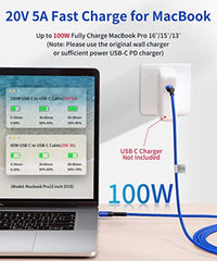 Fast Charging Speed USB C to USB C Fast Charging Cable 100W 10ft, JSAUX 5A USB Type C Cable Compatible with MacBook Pro 2019 2018, iPad Pro 2019 2018, Samsung Galaxy S20 S20+ S20 Ultra Note 10 Plus A80, Pixel 3/3a/2-Blue USA Imported Product