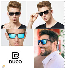 DUCO Men's Luxury Carbon Fiber Temple Polarized Sunglasses for Men Sports UV400 DC8206 Al-Mg alloy+Carbon Fiber frame USA Imported Product - EY Shopping