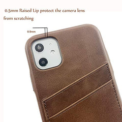 New Style Case Cover for iPhone LUCKYCOIN Leather Case for iPhone 11 Cover Slim Shell Cases Vintage Full Grain Leather Card Holder with Buttons Compatible 2019 New Apple iPhone 11 6.1 inch Dark Brown USA Imported Product - EY Shopping
