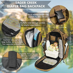 Breathable back padding with air channels and mesh padding Diaper Bag Backpack by Sager Creek + Adventure Diaper Bag with Changing Pad + Daddy Diaper Bag for Men and Woman + Hiking Diaper Bag + Dad Diaper Bag + Unisex Diaper Bag + Baby Care (Brown) USA Im - EY Shopping