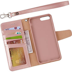 "New Style Case Cover for iPhone Arae Case For iPhone 7 plus / iPhone 8 plus, Premium PU leather wallet Case with Kickstand and Flip Cover for iPhone 7 Plus (2016) / iPhone 8 Plus (2017) 5.5"" (not for iphone 7/8) - Rose Gold USA Imported Product - EY Shopping"