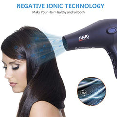 JINRI 1875W Professional Salon Grade Hair Dryer,Smooth hair and lock in moisture,DC Motor Negative Ionic Blow Dryer with 2 Speed 3 Heat Settings Cool Button,Concentrator & Diffuser Attachments USA Imported Product