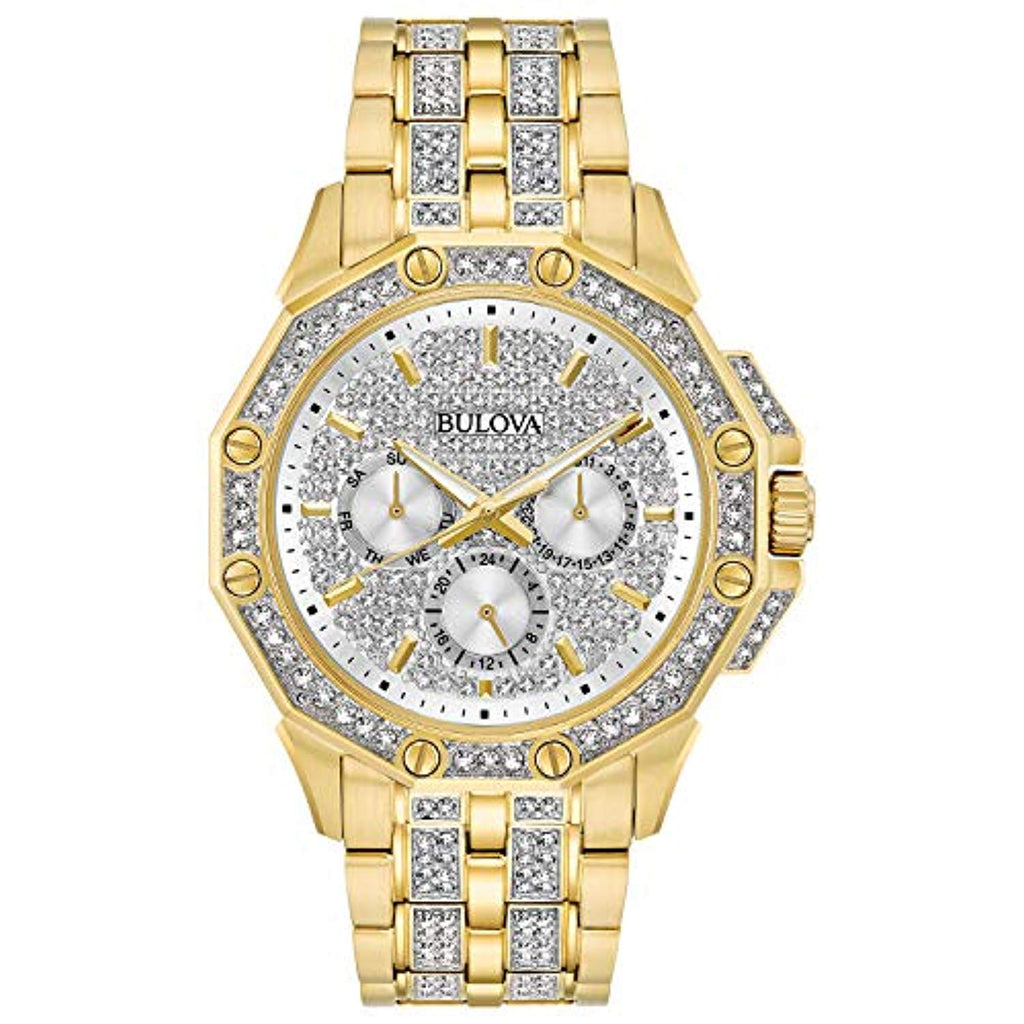 Gold-tone stainless steel case embellished with 308 Swarovski Crystals on bezel, bracelet and pave dial Bulova Men's Crystal - 98C126 USA Imported Product