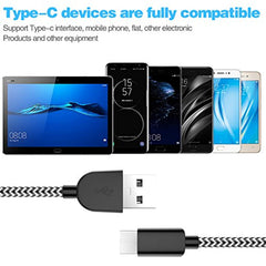 Fast Charge USB Type C Cable 5Pack (3/3/6/6/10FT) Nylon Braided USB C Cable Fast Charger Charging Cord Compatible Samsung Galaxy S9 S8 Note 9 Note 8 Plus,LG V30 G6 G5 V20,Google Pixel, Moto Z2-Black&White USA Imported Product