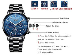 All small dials are work Watches Men Stainless Steel Sport Analog Quartz Watch Men Luxury Brand LIGE Waterproof Date Business Dress Wristwatch Man Black Clock USA Imported Product - EY Shopping