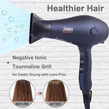 Negative ions function reduce static and frizz 1875w Professional Tourmaline Hair Dryer, Negative Ionic Salon Hair Blow Dryer,DC Motor Light Weight Low Noise Hair Dryers with Diffuser & Concentrator(Blue-Black)USA Imported Product