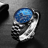 Luxury Brand USA Imported Product, LIGE Waterproof Date Business Dress Wristwatch Man Black Clock, All small dials are work Watches Men Stainless Steel Sport Analog Quartz Watch Men