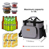 Lifewit Large Lunch Bag Insulated Lunch Box Soft Cooler Cooling Tote for Adult Men Women, 24-Can (15L), Grey USA Imported Product - EY Shopping