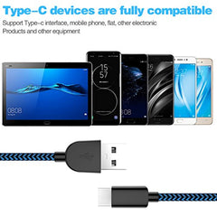 Fast USB Type C Cable 5Pack (3/3/6/6/10FT) Nylon Braided USB C Cable Fast Charger Charging Cord Compatible Samsung Galaxy S9 S8 Note 9 Note 8 Plus,LG V30 G6 G5 V20,Google Pixel, Moto Z2 and More USA Imported Product