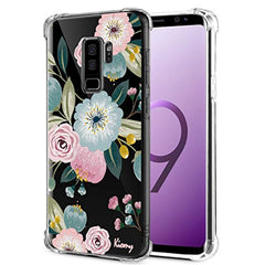 New High Quality Galaxy S9 Plus Case for Girls Women Shockproof Clear with Cute Pink Floral Design Protective Cell Phone Cover for Samsung Galaxy S9 Plus 6.2 Inch Flowers Pattern Print Rubber Slim Fit Flexible Cases USA Imported Product