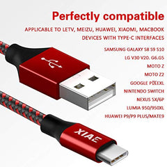 XIAE Fast Charging USB Type C Cable,5Pack (3/3/6/6/10FT)Nylon Braided Fast Charging Cable Aluminum Housing Compatible with Samsung Galaxy S10 S9 Note 9 8 S8 Plus,LG V30 V20 G6,Google Pixel,Huawei P30/P20-Black&Red USA Imported Product