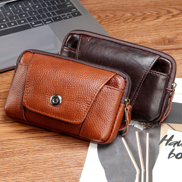 Leather Zipper Belt Pouch Bag Vintage Phone Tactical Waist Bag Storage Holder Pack