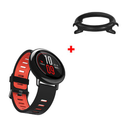 22mm Double Color Silicone Watch Band Plus Colorful PC Watch Frame for Amazfit 2/2S