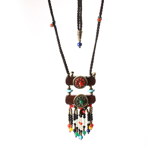 Vintage Ethnic Jewelry Necklace Wood Crystal Sweater Women Necklace