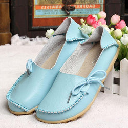 US Size 5-13 New Women Soft Comfortable Lace-Up Flat Loafers Breathable Casual Leather Flats Shoes - EY Shopping