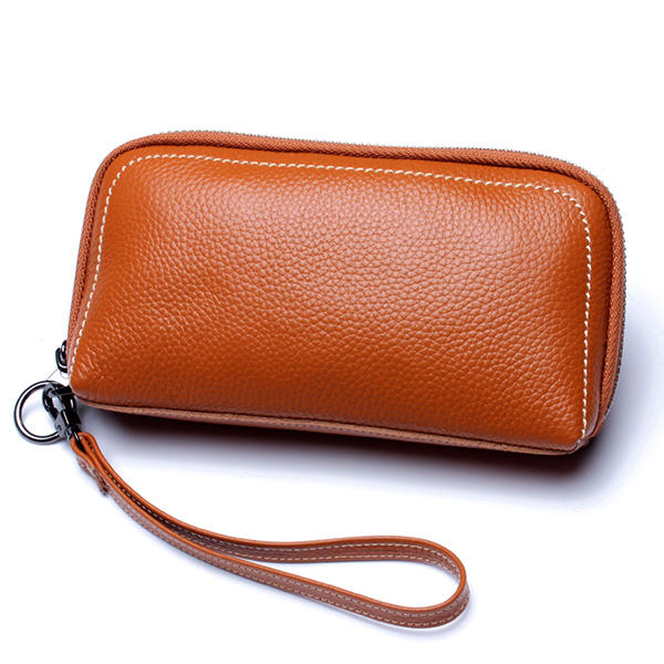 Women Genuine Leather Zipper Long Purse Card Holder Phone Bag Fits 5.5 inch Cellphones