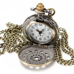DEFFRUN Vintage Steam Punk Quartz Bronze Necklace Pocket Watch