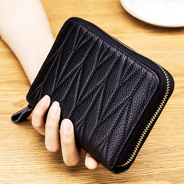 Women RFID Genuine Leather Multi-Slots Zipper Purses Card Holder
