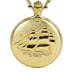 DEFFRUN Vintage Golden Color Luxury Sailing Boat Pattern Quartz Pocket Watch