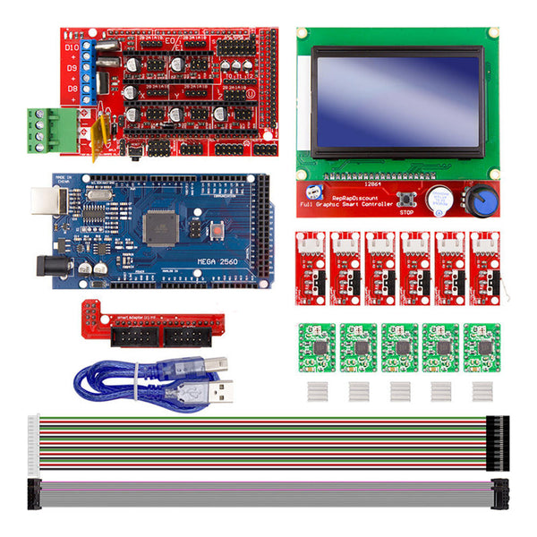 Rampas 1.4 Controller + Mega2560 R3 + 12864 Display DIY Kit for  CNC 3D Printer