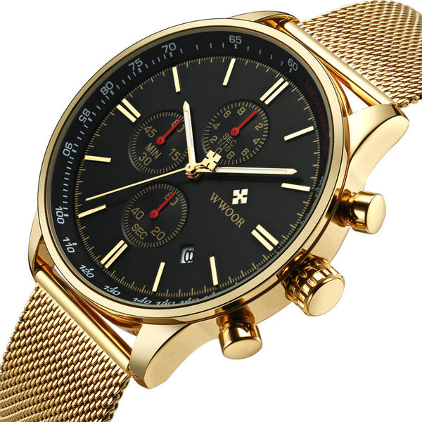 WWOOR 8862 5ATM Waterproof Chronograph Men Wrist Watch Full Steel Clock Quartz Watch