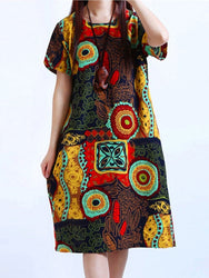 Cotton Women Pattern Printed Short Sleeve O-Neck Dresses
