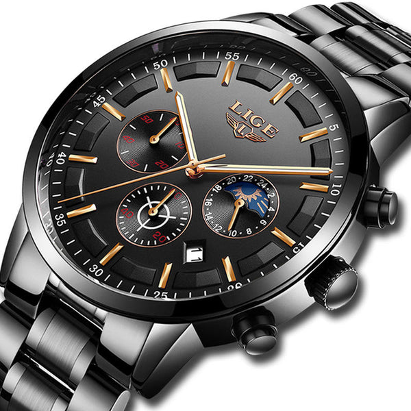LIGE 9877 Business Style Waterproof Men Wrist Watch Luminous Display Full Steel Quartz Watches