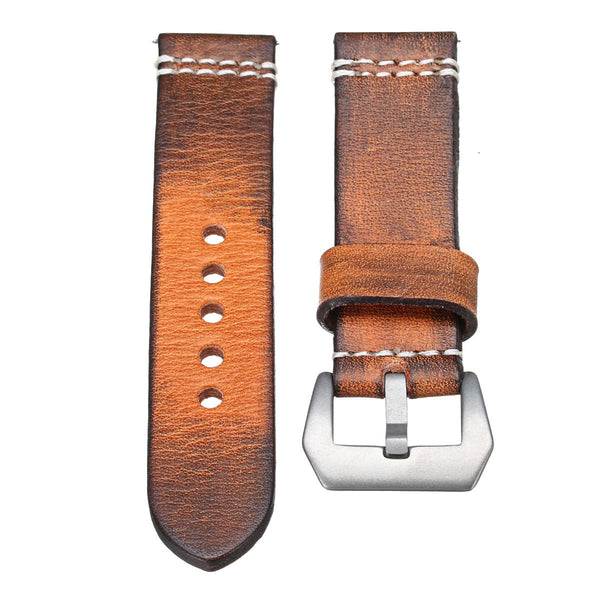 22 24mm Leather Wrist Watch Band Strap Vintage Retro Thick Band Men's Belt