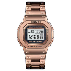 SKMEI 1456 LED Chronograph Countdown Alloy Case Stainless Steel Waterproof Digital Watch Men Watch
