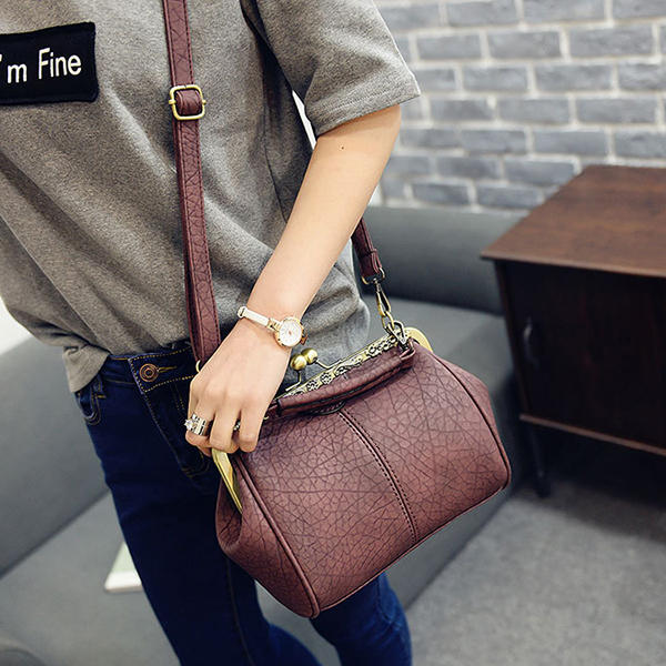Women Vintage Hasp Bucket Bags PU Leather Shoulder Bag  Crossbody Bag