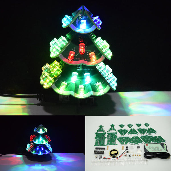 Geekcreit DIY Creative Remote Control Colorful LED Music Christmas Tree Kit Holiday Decoration Small Gifts