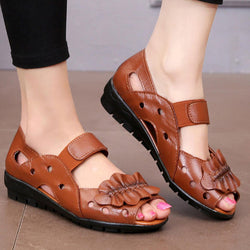 Genuine Leather Casual Shoe Hollow Out Soft Sole Flat Sandals