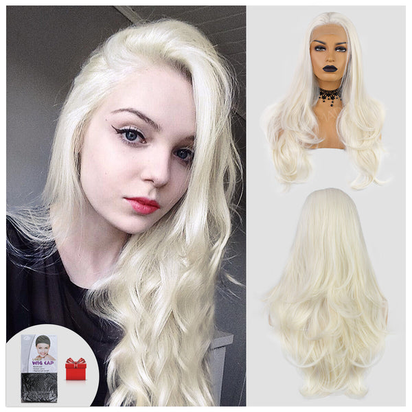 22inch White Curly Front Lace Chemical Fiber Wig Net Cap Area 13 * 3 DIY styling below 160 degrees high temperature silk