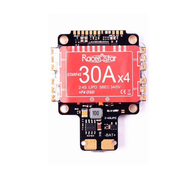 30.5x30.5mm Racerstar StarF4S 30A Blheli_S Dshot 4 in 1 Brushless ESC AIO F4 OSD Flight Controller w/ BEC Current Sensor for RC Drone FPV Racing
