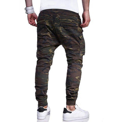 Mens Camo Printed Multi-pocket Cargo Pants Drawstring Elastic Waist Slim Fit Casual Trousers - EY Shopping