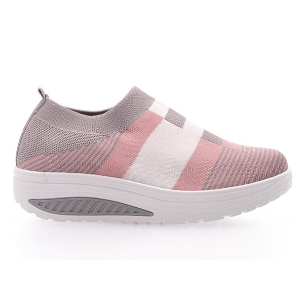 Women Casual Sock Shoes Breathable Mesh Color Splicing Platform Sneakers