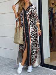 Women Leopard Print Long Split Hem Sleeve Casual Maxi Shirt Dresses - EY Shopping