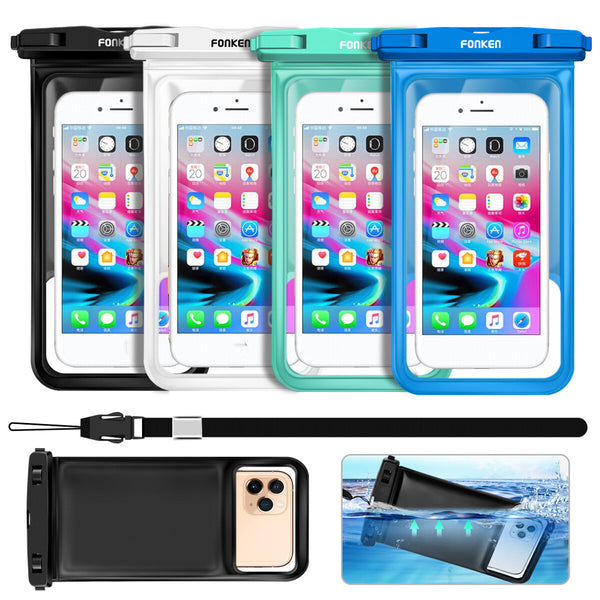 FONKEN IPX8 Waterproof Touch Screen Camera Phone Waterproof Bag Sponge Floating Underwater Swimming Diving Phone Pouch for Mobile Phone below 6.8 inch Device for Xiaomi Redmi Note 9S POCO F2 Pro