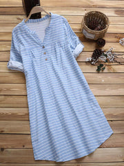 Loose 3/4 Sleeve Stripe Buttons V-neck Casual Dress - EY Shopping