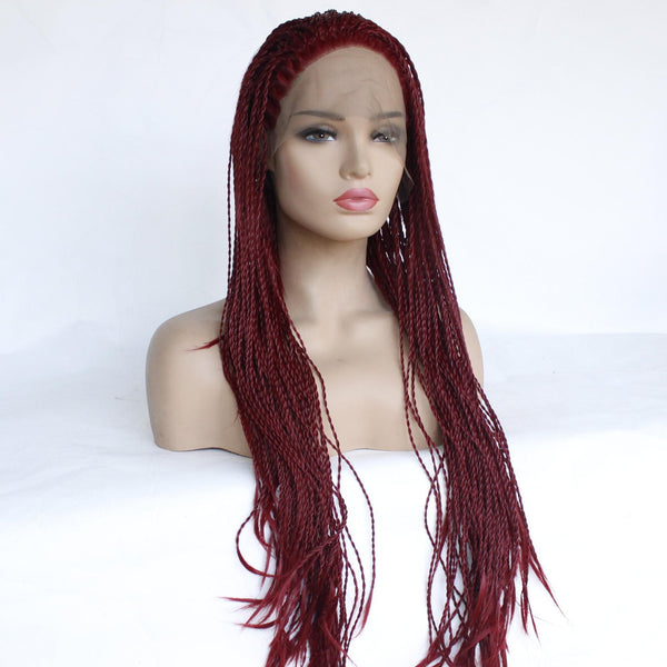 African Two Twisted Chemical Fiber Front Lace Wig