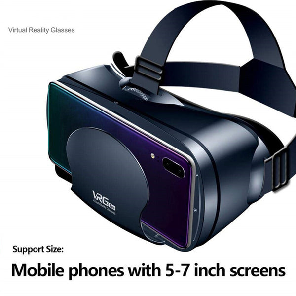 VRG Pro 3D VR Glasses Virtual Reality Full Screen Visual Wide-Angle VR Glasses For 5.0-7.0 Inch Smart Phones For iPhone XS 11Pro Huawei P30 P40 Pro Xiaomi Mi10
