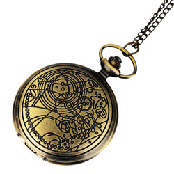 DEFFRUN Retro Bronze Romantic Style Simple Dial Chain Quartz Pocket Watch