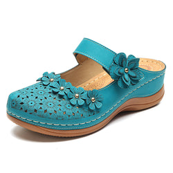 LOSTISY Women Flowers Decoration Hollow Out Soft Sole Sandals