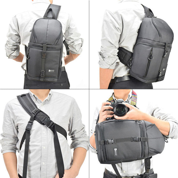 Light Pro Sling Bag Shoulder Cross Waterproof Water-resistant with Rain Cover for Canon for Nikon for Sony SLR DSLR Camera Tripod Lens