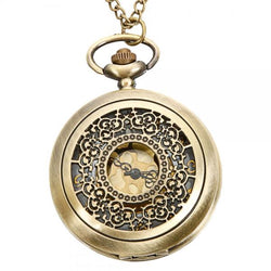 DEFFRUN Vintage Copper Pattern Antique Bronze Quartz Pocket Watch