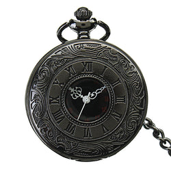 DEFFUN Vintage Hollow Roman Flower Alloy Black Men Women Pocket Watch