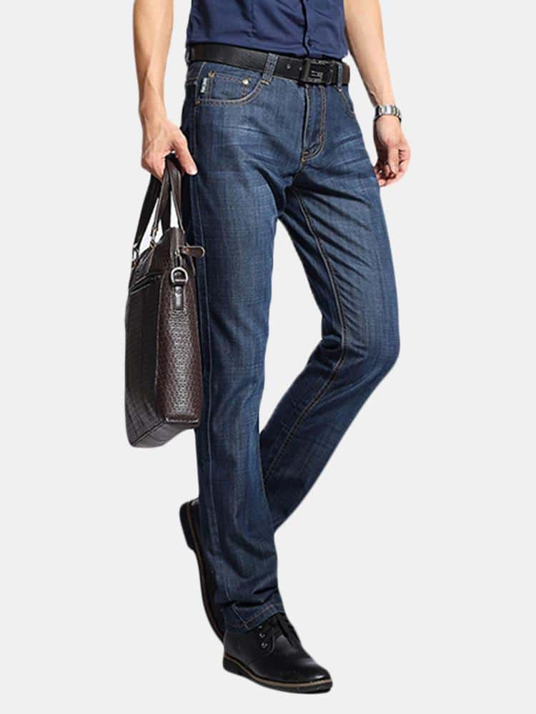 Casual Business Straight Leg Spring Summer Cotton Breathable Basic Long Jeans for Men - EY Shopping