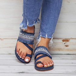 SOCOFY Summer Beach Shoe Bohemian Casual Flat Sandals For Women
