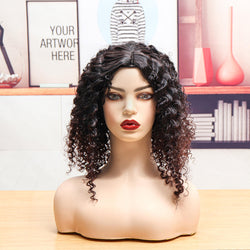 Women Curly Wig Fluffy Small Roll Wig Synthetic Wavy Hair Heat Resistant Wig